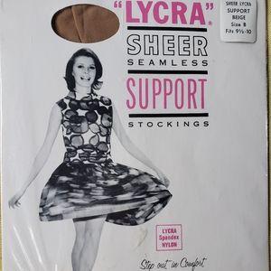 NOS! VTG Lycra Sheer Seamless SupportStockings